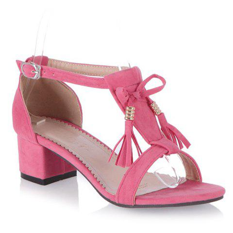 Trendy T-Strap and Tassels Design Women's Sandals - PINK 34