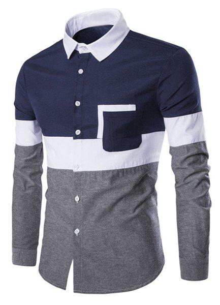93d971a0ed1 Trendy Color Block Fake Tie Design Shirt Collar Long Sleeve Slimming ...