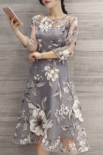 Charming 3/4 Sleeve Round Neck Floral Print See-Through Women's Dress
