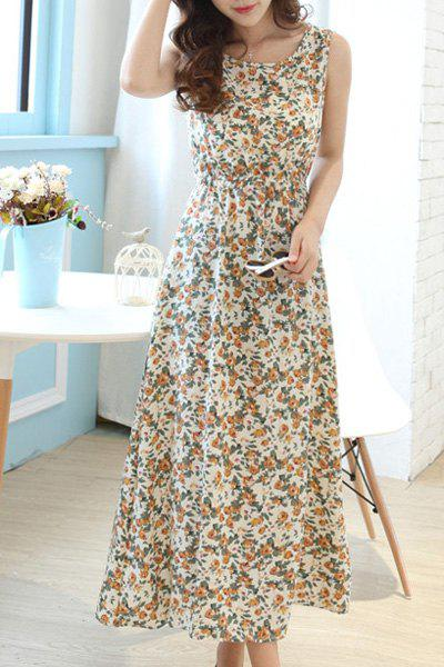 Fashionable Women's Scoop Neck Sleeveless Floral Print A-Line Dress - YELLOW M