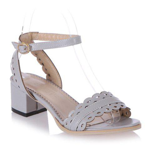 Stylish Hollow Out and Chunky Heel Design Women's Sandals - GRAY 38
