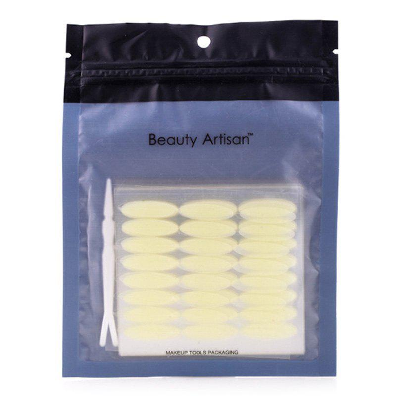 Cosmetic One Bag Wide Breathable Waterproof Invisible Double Eyelid Stickers with Tweezer - YELLOWISH PINK