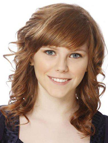 Fluffy Curly Golden Brown Synthetic Charming Medium Side Bang Capless Wig For Women