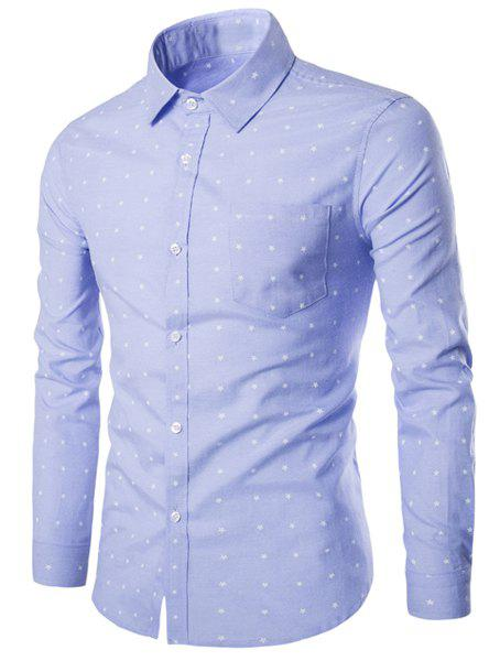 Turn-Down Collar Stars Print Long Sleeve Men's Shirt - LIGHT BLUE L