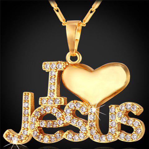 Rhinestoned I Heart Jesus Pendant Necklace - GOLDEN