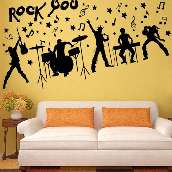 Chic Rock Band Silhouette Pattern Wall Sticker For Livingroom Bedroom Decoration - BLACK