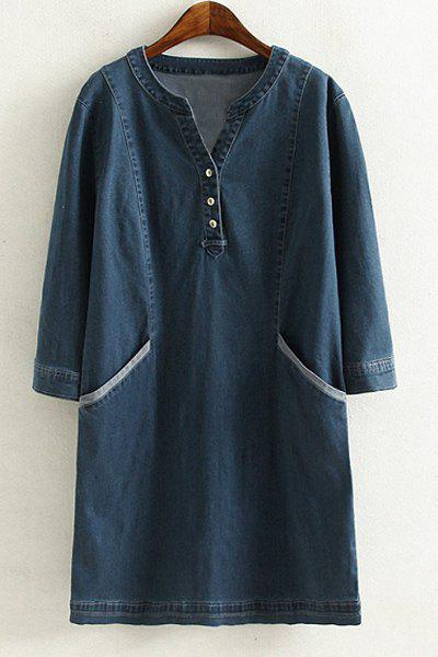 Brief Style V Neck 3/4 Sleeve Blue Denim Loose-Fitting Plus Size Women's Dress - DEEP BLUE 4XL