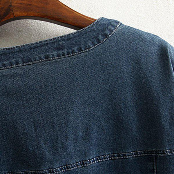 Brief Style V Neck 3/4 Sleeve Blue Denim Loose-Fitting Plus Size Women's Dress - DEEP BLUE 3XL