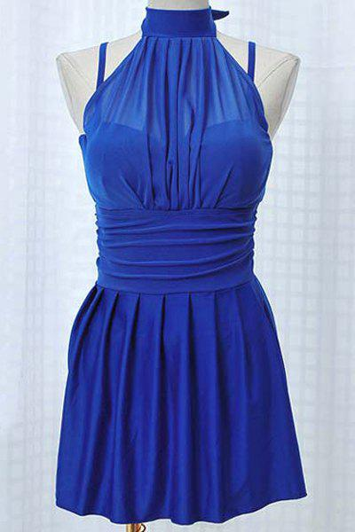 Stylish Halter Pleated Swim Dress and Boxers Two-Piece Swimwear For Women - BLUE L