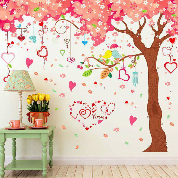 Chic Heart Cherry Pattern Wall Sticker For Livingroom Background Bedroom Decoration - COLORMIX