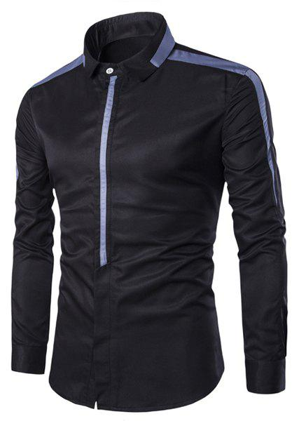 Covered Button Spliced Design Turn-Down Collar Long Sleeve Men's Shirt - BLACK M