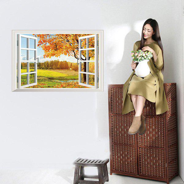Chic 3D Window Autumn Landscape Pattern Wall Sticker For Livingroom Bedroom Decoration