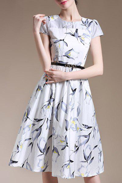 Trendy Short Sleeve Round Collar Slimming Floral Print Women's Dress
