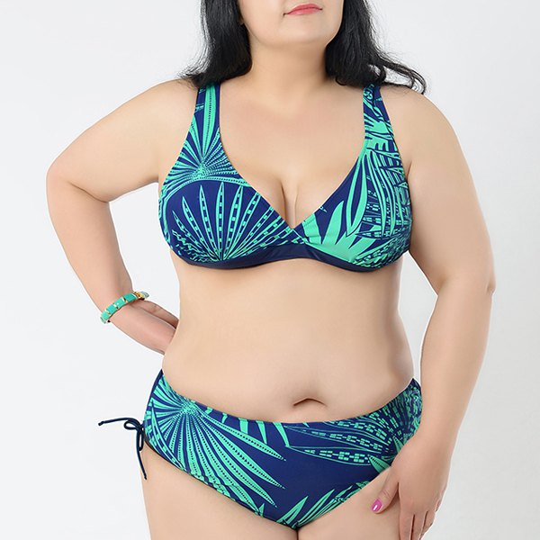 Brief Womens V-Neck Printed Bikini SetWomen<br><br><br>Size: 3XL<br>Color: AZURE