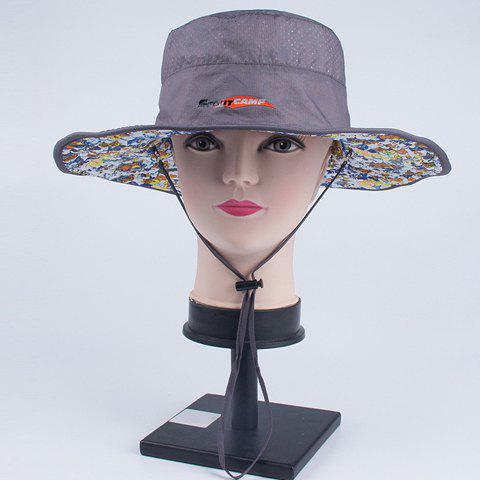 Chic Handpainted Plant Pattern Drawstring Reversible Women's Sun Hat -  GRAY