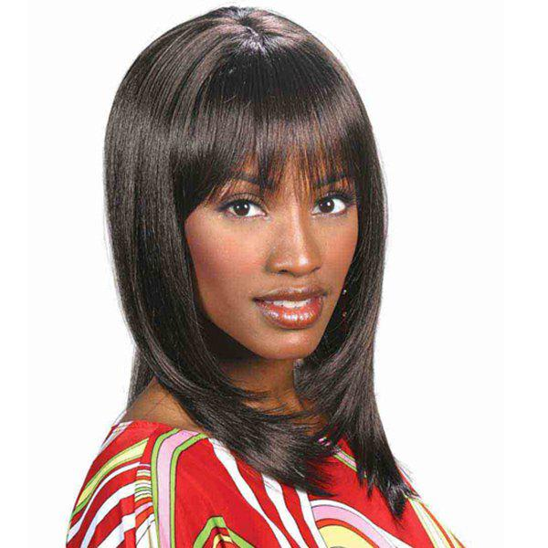 Fashion Full Bang Dark Brown Synthetic Stunning Medium Silky Straight Capless Wig For Women - DEEP BROWN