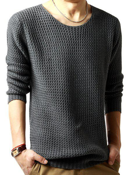 Solid Color Wavy Stripes Jacquard Round Neck Long Sleeves Men's Sweater - DEEP GRAY M