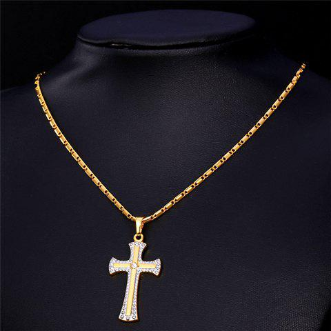 Rhinestone Crucifix Necklace - GOLDEN