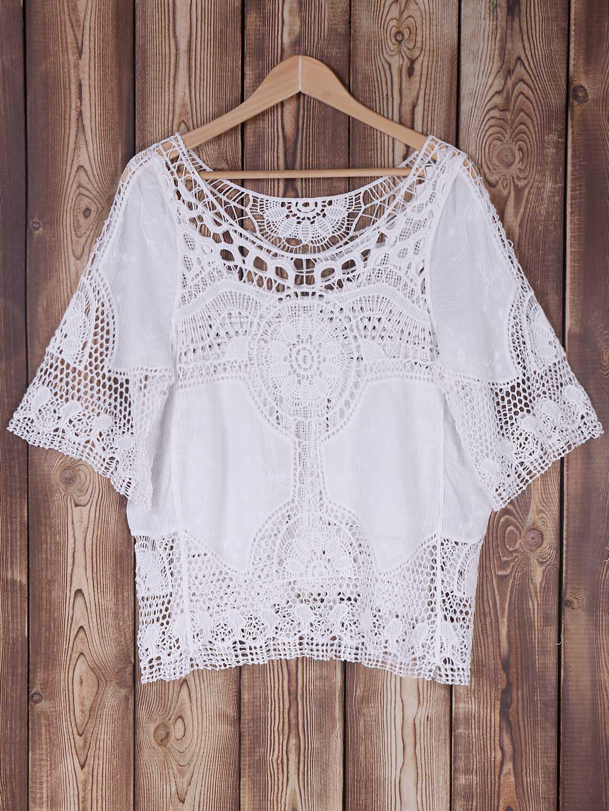 Openwork Bat Sleeve Cover -Up - WHITE ONE SIZE(FIT SIZE XS TO M)