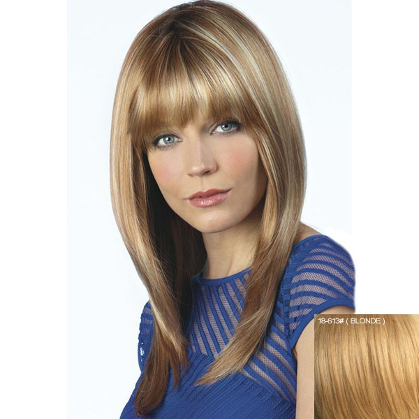 Human Hair Elegant Long Fluffy Natural Straight Full Bang Wig - BLONDE