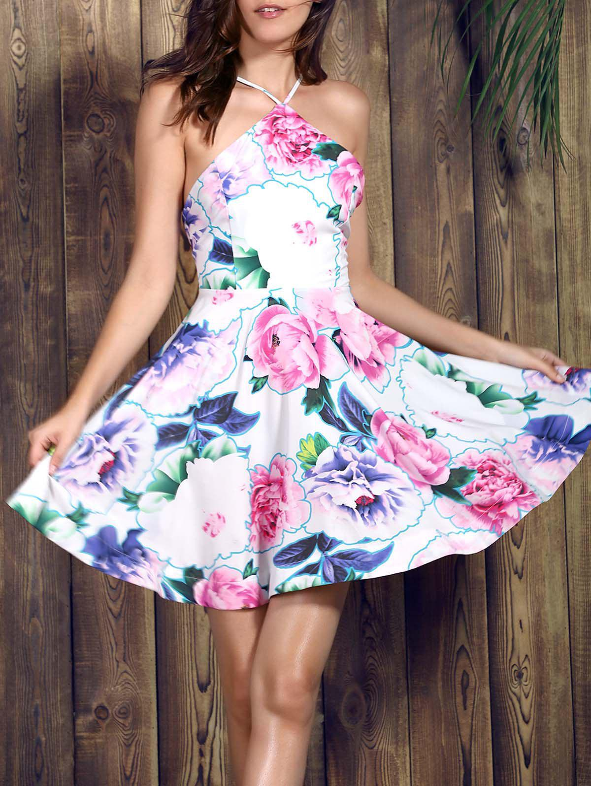 Graceful Spaghetti Strap Sleeveless Floral Print Backless Women's Dress - PINK S
