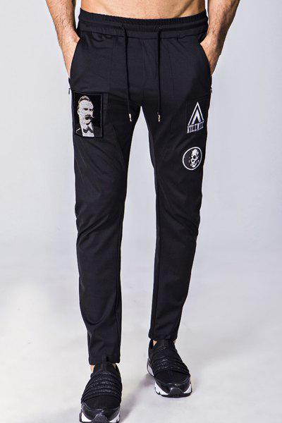 Figure Skull and Letters Embroidered Lace-Up Narrow Feet Men's Pants - BLACK M