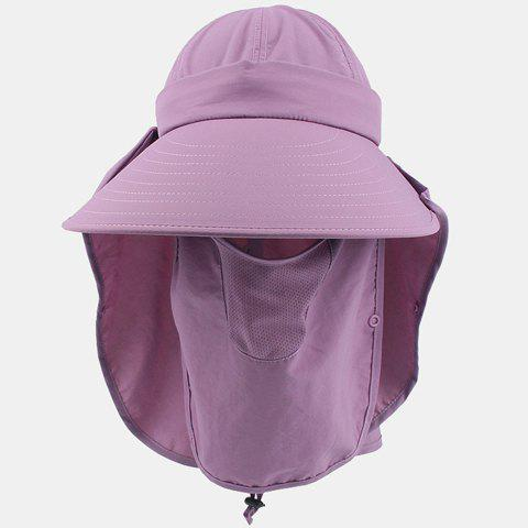 Chic Dismountable Face Mask Fresh Color Sun-Resistant Women's Sun Hat - PURPLE