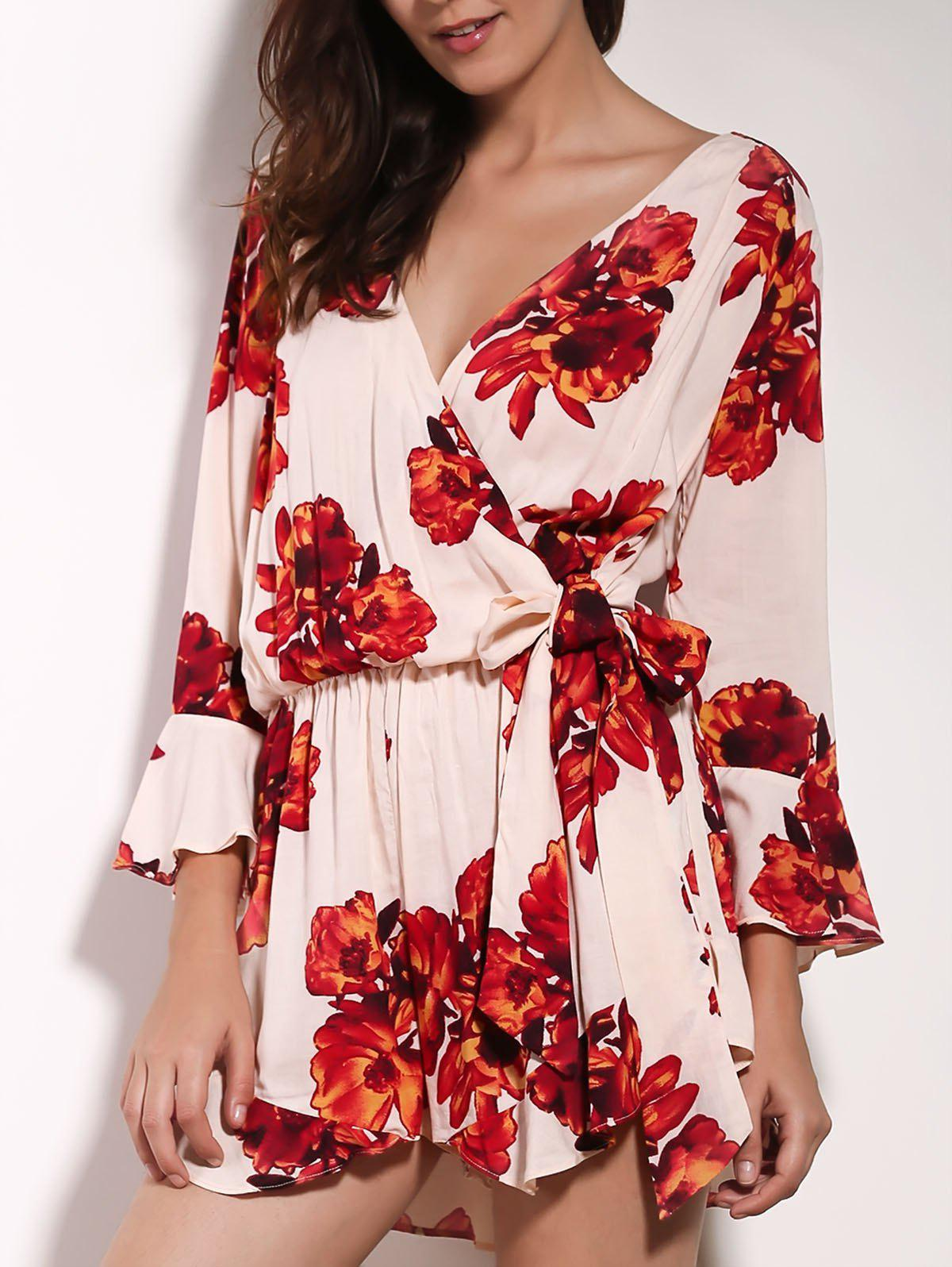 Charming V Neck 3/4 Sleeve Floral Print Loose Self-Tie Women's Wrap Romper - RED S