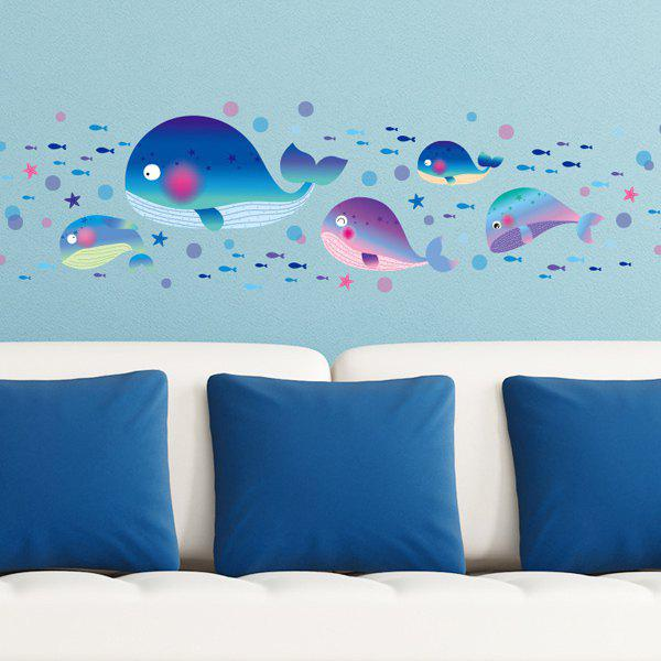 Chic Cartoon Whales Pattern Wall Sticker For Kindergarten Children's Bedroom - COLORMIX