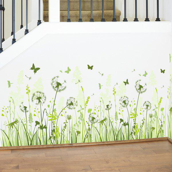 Chic Dandelion Pattern Baseboard Wall Sticker For Livingroom  Bedroom Decoration - GRASS GREEN