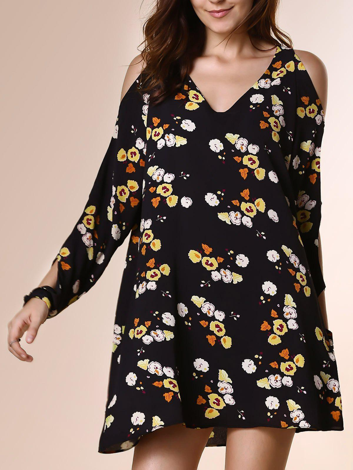 Novelty V Neck Long Sleeve Floral Print Cut Out Loose Women's Dress - S BLACK