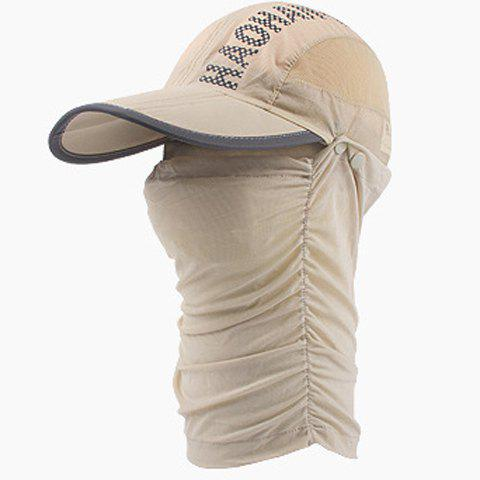 Fashion Dismountable Face Mask Letter Pattern Sun-Resistant Baseball Cap - LIGHT KHAKI