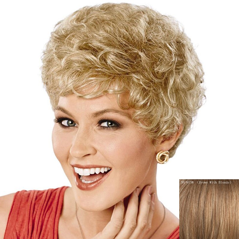 Fluffy Curly Short Attractive Side Bang Real Natural Hair Wig For Women - BROWN/BLONDE