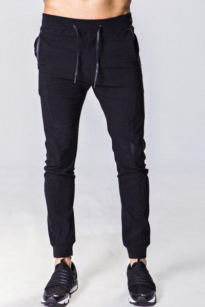 Solid Color Zipper Pocket Lace-Up Beam Feet Men's Pants - BLACK M