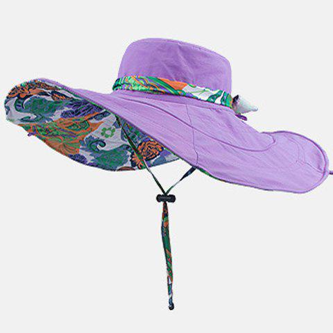 Chic Handpainted Flower Pattern Drawstring Reversible Women's Sun Hat - LIGHT PURPLE