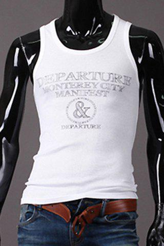 Slim Fit Pullover Letter Printed Men's Gym Tank Top - WHITE 2XL