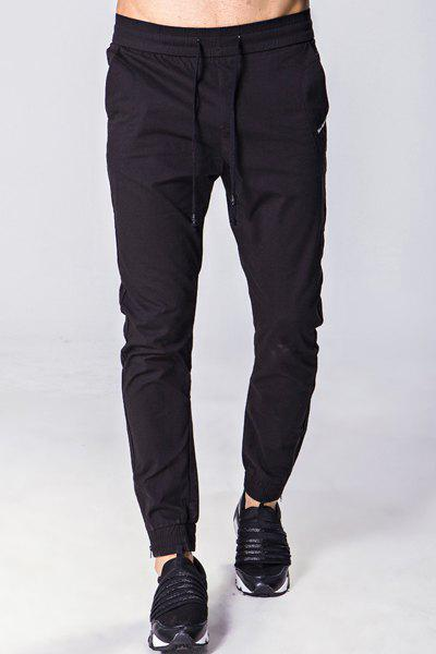 Solid Color Embroidered Zipper Pocket Lace-Up Beam Feet Men's Pants - BLACK M