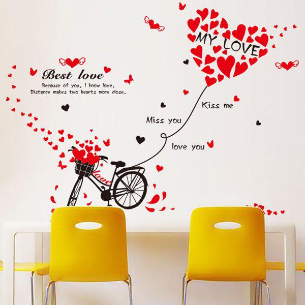Chic Flying Heart Bicycle Pattern Wall Sticker For Livingroom  Bedroom Decoration - RED/BLACK