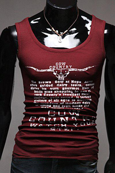 Slim Fit Men's Pullover Letters Printed Gym Tank Top - WINE RED XL