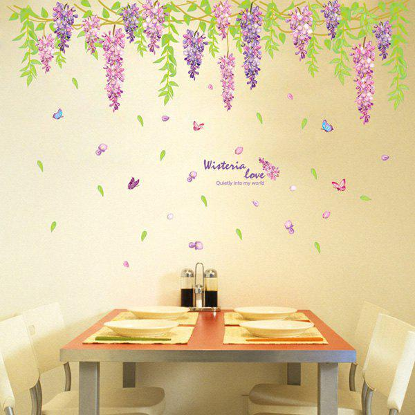 Chic Wistaria Pattern Wall Sticker For Livingroom  Bedroom Decoration - COLORMIX