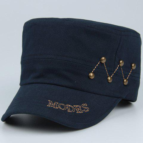 Stylish Button and Sewing Thread Embellished Men's Military Hat - DEEP BLUE