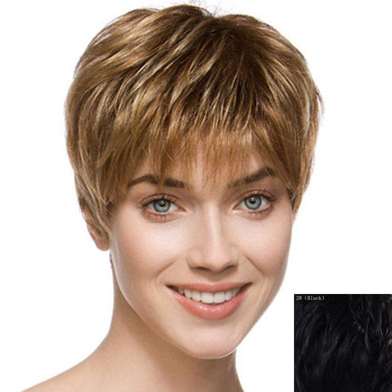 Fluffy Short Natural Straight Spiffy Side Bang Capless Human Hair Wig For Women