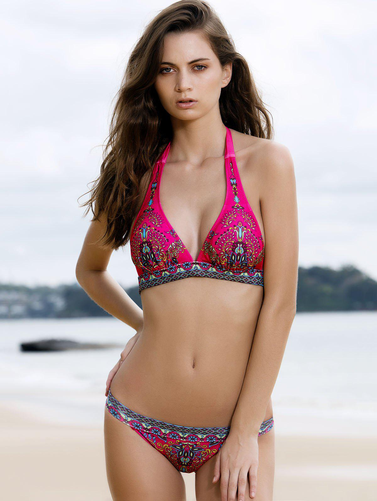 Attractive Printed Halterneck Bikini Set For Women - PLUM S