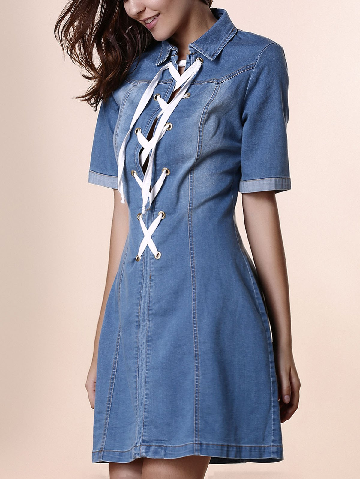 Stylish Shirt Collar Short Sleeve Lace-Up Denim Women's Dress - BLUE L