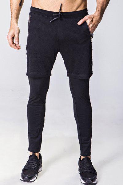 Letter Appliques Faux Twinset Lace-Up Mesh Spliced Narrow Feet Men's Pants - BLACK M