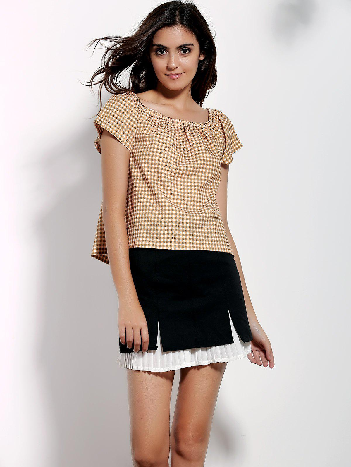 Stylish Off-The-Shoulder Short Sleeve Gingham Loose Women's T-Shirt - YELLOW S