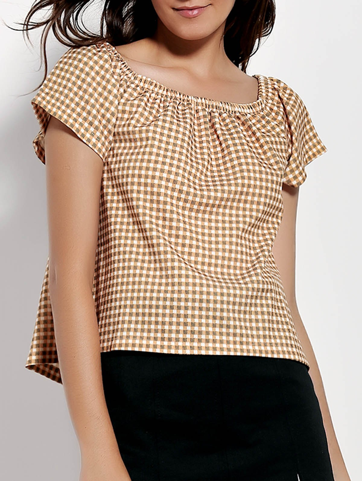 Stylish Off-The-Shoulder Short Sleeve Gingham Loose Women's T-Shirt