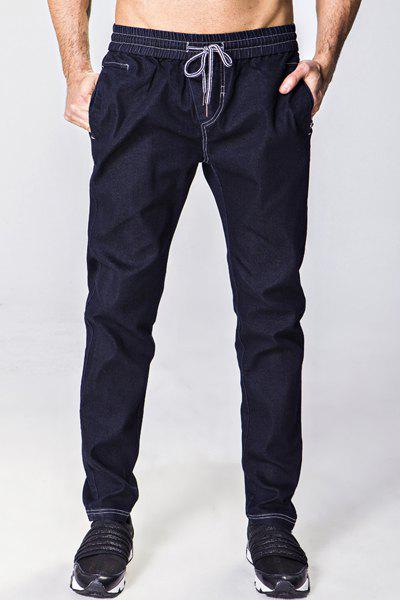 Narrow Feet Bleach Wash Lace-Up Men's Jeans - DEEP BLUE XL