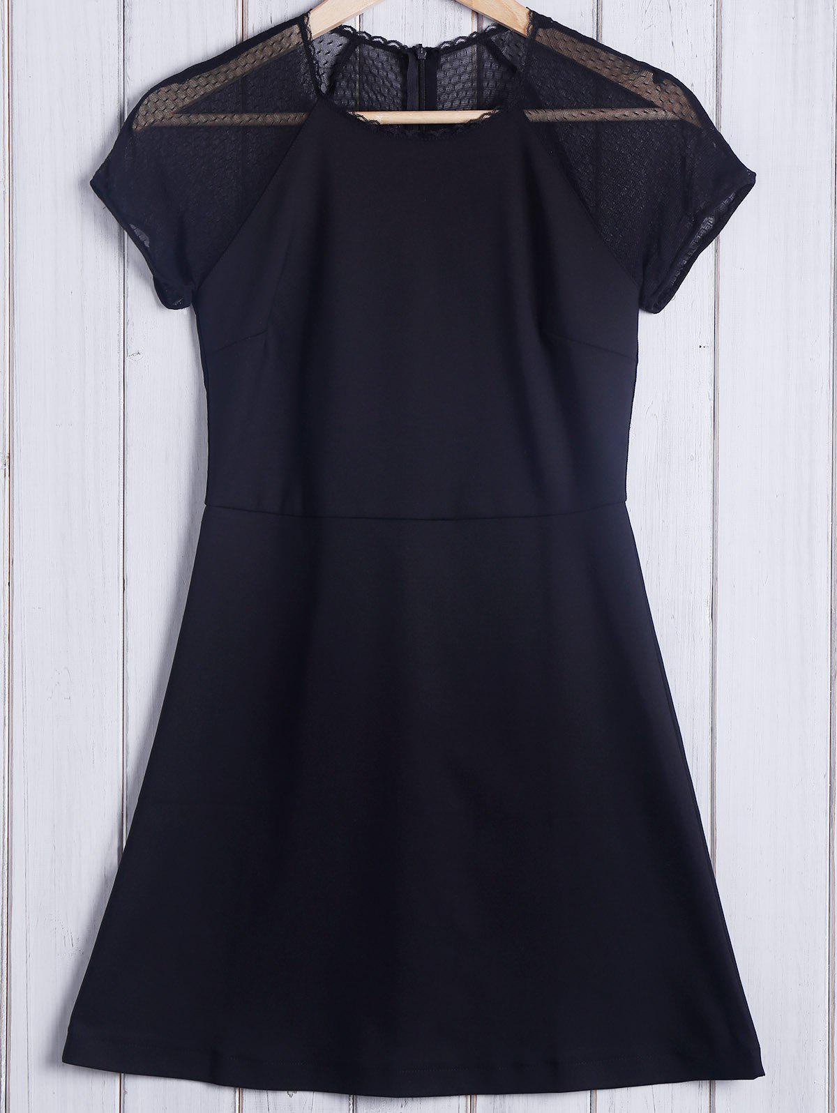 Trendy Short Sleeve Round Collar Pure Color Lace Spliced Women's Dress - BLACK M