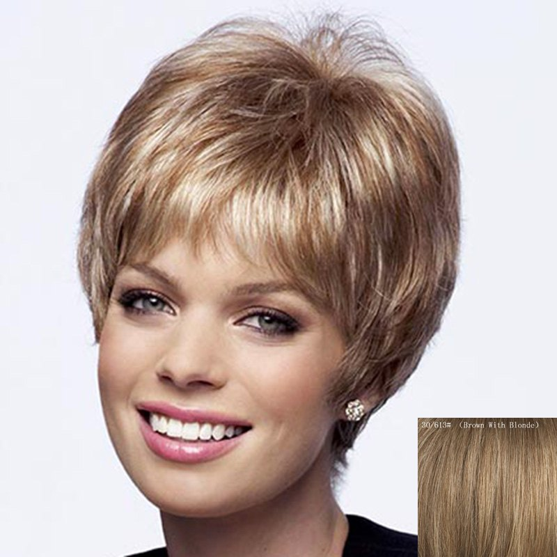 Dynamic Side Bang Capless Shaggy Short Natural Straight Human Hair Wig For Women - BROWN/BLONDE